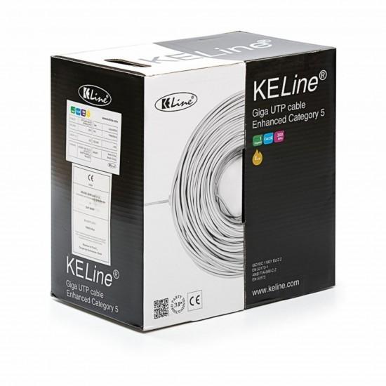 Kabel CAT.5e UTP 4x2 AWG24 300Mhz PVC Euroclass Eca 305m KELine